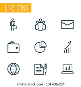 Trade icons line style set with work man, envelope, diagram and other mail elements. Isolated vector illustration trade icons.