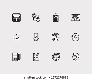 Trade icons set. Business training and trade icons with web, powerpoint presentation and business card. Set of businessman for web app logo UI design.