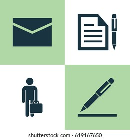 Trade Icons Set. Collection Of Contract, Work Man, Envelope And Other Elements. Also Includes Symbols Such As Businessman, Envelope, Man.