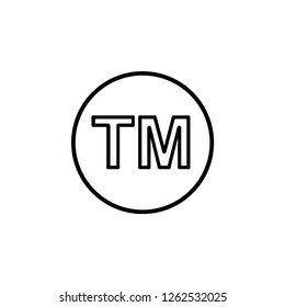 Trade Mark Icon. Legal Identity Vector Illustration Logo Template. Flat & Formal Sign & Symbol for Trade or Merchandise.