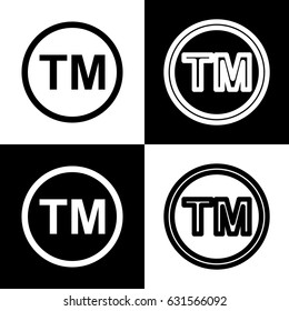 Trade mark sign. Vector. Black and white icons and line icon on chess board.
