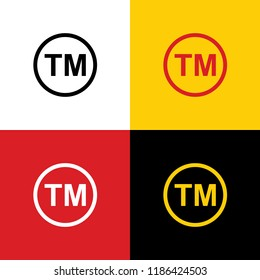 Trade mark sign. Vector. Icons of german flag on corresponding colors as background.