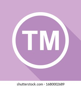 Trade mark sign. White Icon with long shadow at purple background. Illustration.