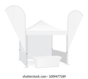 Trade show booth display stand - tent canopy, feather flags and demonstration table. Blank exhibition equipment mockup. Vector illustration