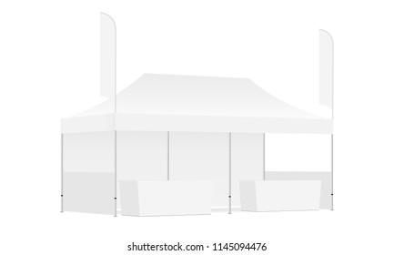Trade show booth display stand - rectangular tent, feather flags, demonstration tables. Blank exhibition equipment mockup. Vector illustration
