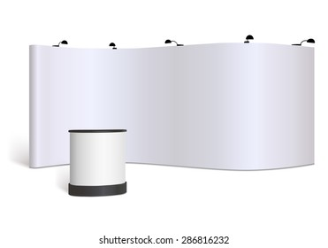 Trade show booth, vector isolated on white background