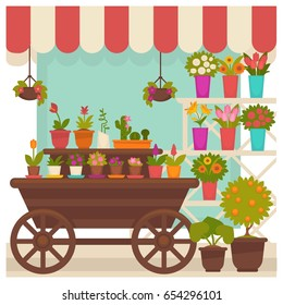 Trade tent with beautiful flowers in pots illustration