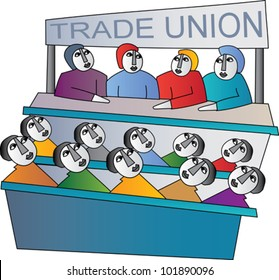 Trade union members in a meeting
