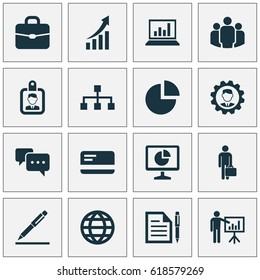 Trade Visitor Icons Set. Collection Of Presenting Man, Group, Statistics And Other Visitor Icon Elements. Also Includes Symbols Such As Presentation, Screen, Contract.