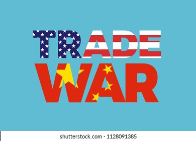 Trade war between China and United States of America. Economical and commerical tension and conflict between USA and Chinese economy - protectionism, sanctions, duties, tariffs. Vector illustration