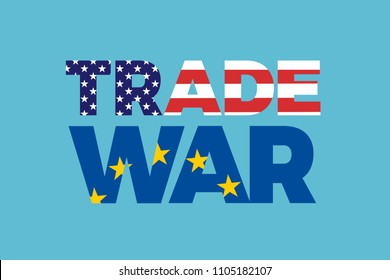 Trade war between European Union and United States of America. Economical and commerical tension and conflict between USA and EU - protectionism, sanctions, duties, tariffs. Vector illustration
