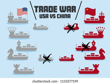 Trade War illustrated with chess markers and container ships