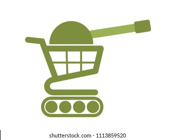 Trade war - Shopping trolley / cart with cannon and green military color as metaphor of trading, commerce, business and economical conflict because of tarriff, duty and tax.