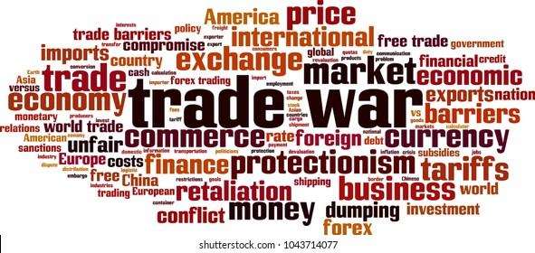 Trade war word cloud concept. Vector illustration