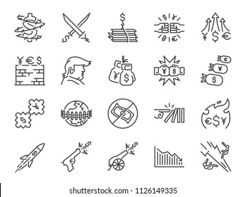 Trade wars icon set. Included icons as currency war, Economic sanctions, tax, tariffs, wall, crisis and more.