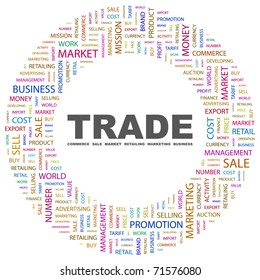 TRADE. Word collage on white background. Vector illustration. Illustration with different association terms.