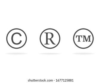 Trademark symbols for copyright and right of property. Flat design with shadow. Vector EPS 10