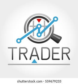 Trader. Analysis icon. Finance logo vector. Statistic. Magnifier and graph icon with shadow. Stock market analysis, finance. Money investing. Global economy. Trading tips. Marketing.