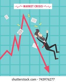 Trader Broker Investor Businessman Loses his Money. Global Financial Crisis. Economy Collapse. Stock Market Crash. Concept Illustration Flat Vector Art Design.