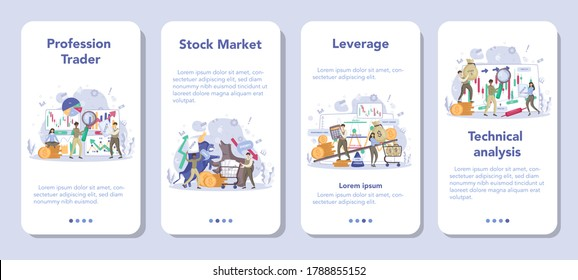 Trader, financial investment mobile application banner set. Stock market profit, leverage, technical analysis. Increase and finance growth. Vector illustration in flat style