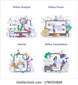 Trader, financial investment online service or platform set. Stock market profit, leverage, technical analysis. Online analysis, forum, tutorial, consultation. Vector illustration in flat style