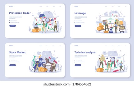 Trader, financial investment web banner or landing page set. Stock market profit, leverage, technical analysis. Increase and finance growth. Vector illustration in flat style
