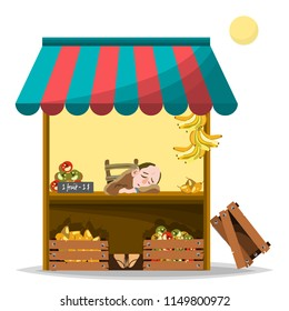 A trader in the market sells pears, apples and bananas for a dollar apiece. Vector illustration