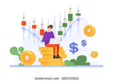 Trader working illustration theme Vector illustration