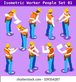 Tradesman character Isometric People building Construction site Foreman Worker Collection. Blue Collar symbol. Person realistic gesture sign. Builder 3D Flat Icon Set Men at Work Vector Illustration