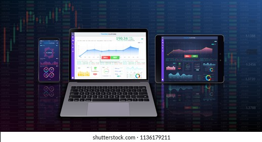 Trading candlestick chart on electronic devices vector illustration. Stock exchange market graph on smartphone, desktop and tablet creative concept.  Vector