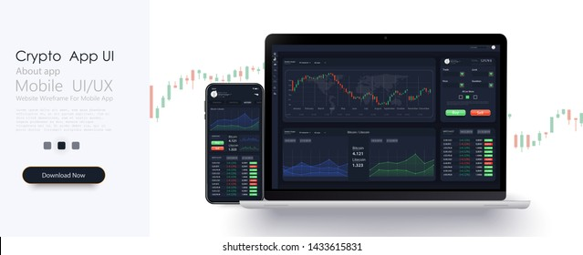 Trading candlestick chart on electronic devices vector illustration. Stock exchange market graph, analysis UI, UX on smartphone, desktop and tablet. Forex market. Binary option. App screen for trading