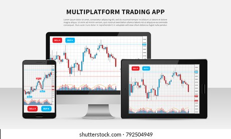 Trading candlestick chart on electronic devices vector illustration. Stock exchange market graph on smartphone, desktop and tablet creative concept. Forex trade chart graphic design.