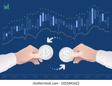 Trading Of Currency Pair Between The Bitcoin And The Dollar On Stock Exchange. Graphic illustration on the theme of 'Currencies / Foreign Exchange'.
