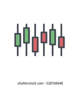 Trading Finance Business Icon Vector Colored Filled Trading Chart