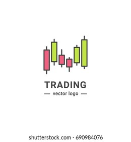 Trading graphic logo. Investment line isolated icon.