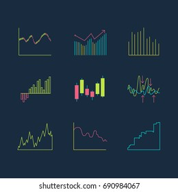 Trading graphics vector icon set. Isolated line forex infographic.