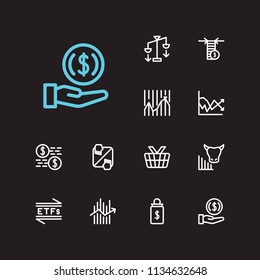 Trading icons set. Invest money and trading icons with averaging down, forex and market order. Set of corporate for web app logo UI design.
