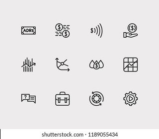 Trading icons set. Invest money and trading icons with portfolio, liquidity and forex. Set of analysis for web app logo UI design.