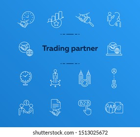 Trading partner icons. Set of line icons. B2B, partnership, agreement, teamwork. Business relationships concept. Vector illustration can be used for topics like business, finance, corporates