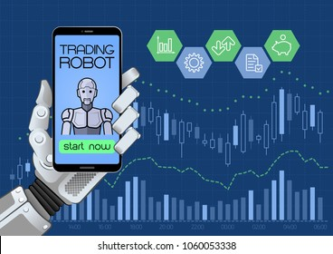 Trading Robot Of Automated Trading System. Illustration on the subject of 'Financial Technologies / Stock Exchange'.