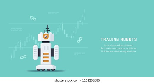 Trading robots concept banner design. Stock market, forex and cryptocurrency trading. Flat style illustration.