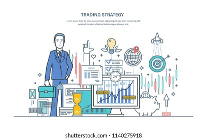 Trading strategy. Financial stock market, protection of capital market, e-commerce. Businessman, investing in stock market, currency trading. Illustration thin line vector doodles.