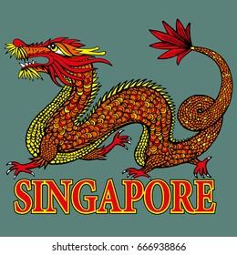 Tradition Asian Dragon Illustration. Asia's Four Little Dragons. Singapore