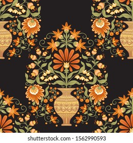 Tradition mughal motif, fantasy flowers in retro, vintage style. Seamless pattern, background. Vector illustration in beige and orange colors.