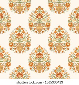 Tradition mughal motif, fantasy flowers in retro, vintage style. Seamless pattern, background. Vector illustration in beige and orange colors..