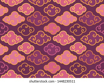 Tradition oriental clouds vector seamless pattern. Chinese and Japanese cloud symbol background. Purple and gold tones
