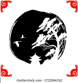 Traditional abstract asian landscape in black circle hand-drawn with ink. Isolated on a white background.