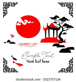 Traditional abstract chinese background: black and red