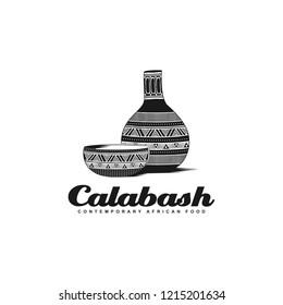 Traditional African Calabash bowl black logo illustration