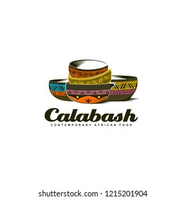 Traditional African Calabash bowl colorful logo illustration